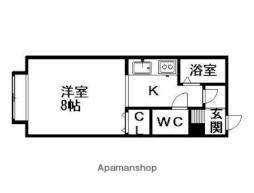 札幌市電2系統 石山通駅 徒歩5分の賃貸アパート 1階1Kの間取り