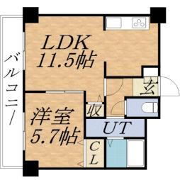 ティアラタワー中島倶楽部(I-IV) 4階1LDKの間取り