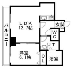 ティアラタワー中島倶楽部(I-IV) 33階1LDKの間取り