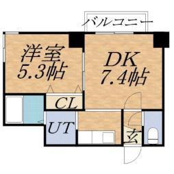 レジディア桑園 11階1DKの間取り