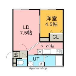JR学園都市線 新川駅 徒歩3分の賃貸アパート 2階1DKの間取り