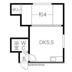 札幌市営東豊線 福住駅 バス11分 真栄下車 徒歩3分の賃貸アパート 3階1DKの間取り