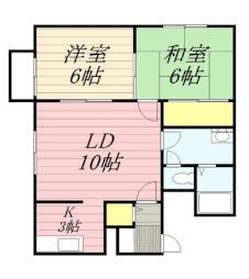 バス 清田5条2丁目下車 徒歩6分の賃貸アパート 2階2LDKの間取り