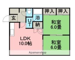 札幌市営東西線 新さっぽろ駅 徒歩16分の賃貸アパート 3階2LDKの間取り