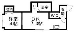 プリモアモーレ 2階1DKの間取り