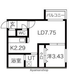 札幌市営東西線 南郷13丁目駅 徒歩4分の賃貸マンション 2階1LDKの間取り