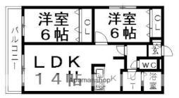 JR千歳線 平和駅 徒歩16分の賃貸マンション 1階2LDKの間取り