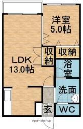 小田ビルセフティライフ 2階1LDKの間取り