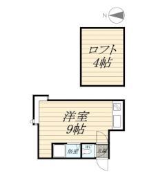 ラフォーレアイダ弐番館 2階ワンルームの間取り