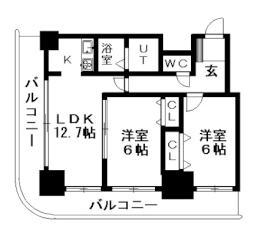 ティアラタワー中島倶楽部(I-IV) 19階2LDKの間取り