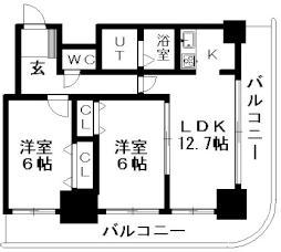 ティアラタワー中島倶楽部(I-IV) 16階2LDKの間取り