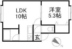ステージインC23 2階1LDKの間取り