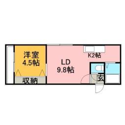 JR函館本線 手稲駅 徒歩3分の賃貸マンション 5階1LDKの間取り