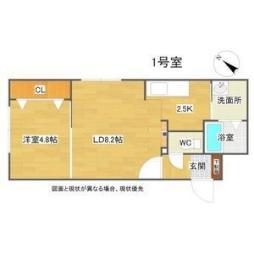 JR函館本線 手稲駅 徒歩6分の賃貸マンション 1階1LDKの間取り