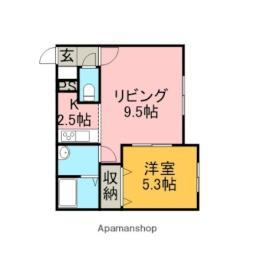 JR函館本線 星置駅 徒歩3分の賃貸アパート 3階1LDKの間取り