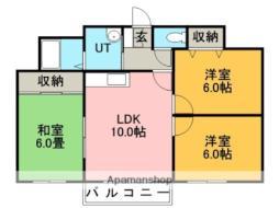 JR函館本線 手稲駅 バス30分 石狩市役所下車 徒歩13分の賃貸アパート 2階3LDKの間取り
