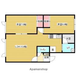 JR函館本線 岩見沢駅 徒歩18分の賃貸アパート 1階2LDKの間取り
