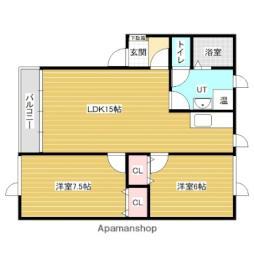 バス 大和町下車 徒歩2分の賃貸アパート 3階2LDKの間取り