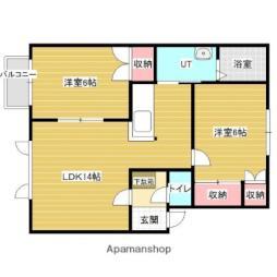 JR函館本線 岩見沢駅 徒歩18分の賃貸アパート 2階2LDKの間取り