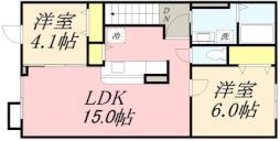 ラ・クラルテ I 2階2LDKの間取り