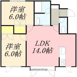 サンライフ亀田港VI 2階2LDKの間取り