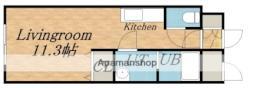 JR学園都市線 あいの里教育大駅 徒歩3分の賃貸マンション 1階ワンルームの間取り