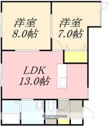 JR函館本線 南小樽駅 バス9分 入船2丁目下車 徒歩6分の賃貸アパート 1階2LDKの間取り