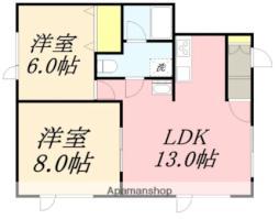 JR函館本線 南小樽駅 バス9分 入船2丁目下車 徒歩8分の賃貸アパート 1階2LDKの間取り