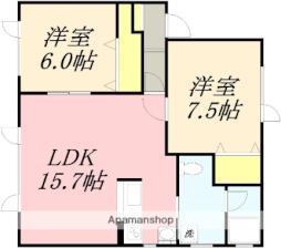 JR函館本線 南小樽駅 バス9分 入船2丁目下車 徒歩8分の賃貸アパート 2階2LDKの間取り