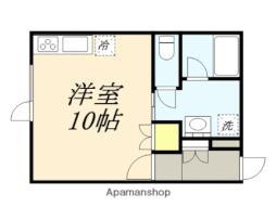 SANKOハイツII 1階ワンルームの間取り