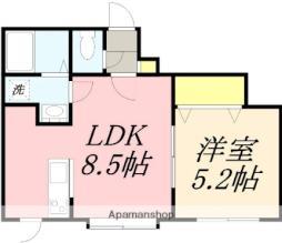 JR函館本線 小樽駅 徒歩8分の賃貸アパート 1階1LDKの間取り