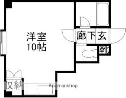 JR函館本線 南小樽駅 徒歩4分の賃貸マンション 2階ワンルームの間取り