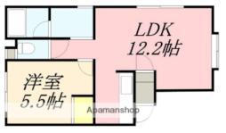 JR函館本線 桔梗駅 徒歩16分の賃貸アパート 1階1LDKの間取り