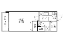 仙台市地下鉄東西線 国際センター駅 徒歩5分の賃貸マンション 6階1Kの間取り