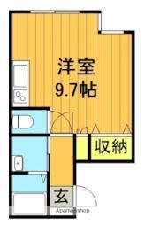 JR磐越東線 郡山駅 徒歩6分の賃貸マンション 3階ワンルームの間取り