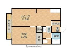 JR内房線 長浦駅 徒歩4分の賃貸アパート 1階1LDKの間取り