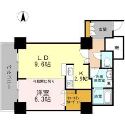 東京臨海高速鉄道りんかい線 品川シーサイド駅 徒歩2分の賃貸マンション 17階1LDKの間取り