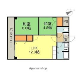 千歳パークマンション 3階2LDKの間取り