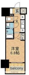 名古屋市営東山線 今池駅 徒歩2分の賃貸マンション 13階1Kの間取り