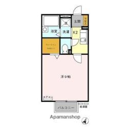 名古屋市営東山線 一社駅 徒歩7分の賃貸アパート 2階1Kの間取り