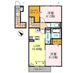 JR東海道・山陽本線 彦根駅 徒歩28分の賃貸アパート 2階2LDKの間取り