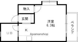 京阪本線 守口市駅 徒歩11分の賃貸マンション 2階ワンルームの間取り