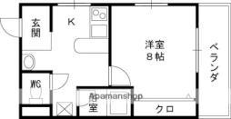 Osaka Metro谷町線 守口駅 徒歩8分の賃貸マンション 3階1Kの間取り