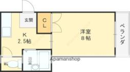 Osaka Metro谷町線 守口駅 徒歩16分の賃貸マンション 4階1Kの間取り