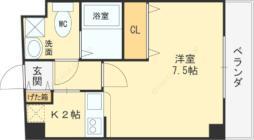 近鉄大阪線 俊徳道駅 徒歩1分の賃貸マンション 3階1Kの間取り