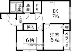 Osaka Metro谷町線 守口駅 徒歩3分の賃貸マンション 2階2DKの間取り