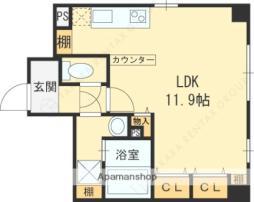 京阪本線 土居駅 徒歩4分の賃貸マンション 3階ワンルームの間取り