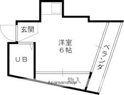 京阪本線 守口市駅 徒歩6分の賃貸マンション 4階ワンルームの間取り