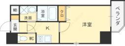 Osaka Metro四つ橋線 西梅田駅 徒歩2分の賃貸マンション 4階1Kの間取り