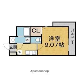 モダンアパートメント江坂 9階1Kの間取り